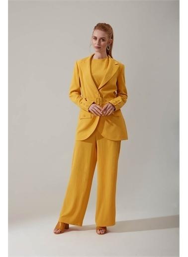 Mizalle Mizalle Aerobin Bol Paçalı Panto,Sarı,Xl Sarı